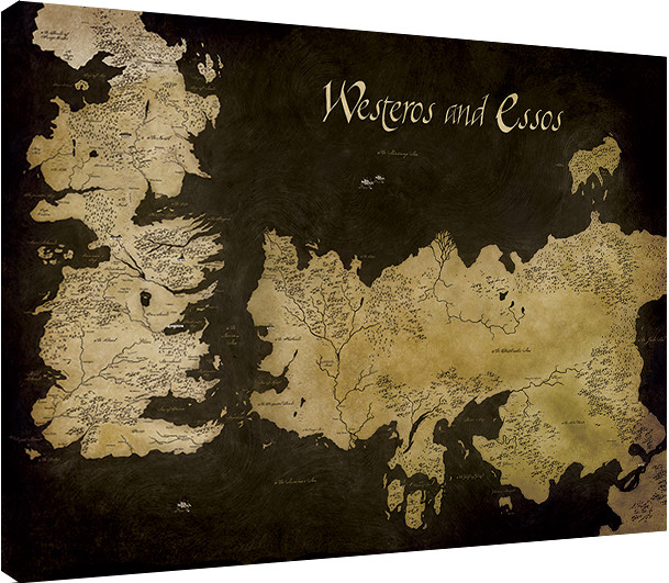 Tablou Canvas Game of Thrones - Westeros and Essos Antique Map