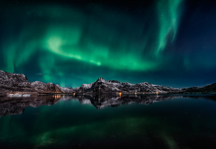 Tablou Canvas Lofoten Aurora Reflection