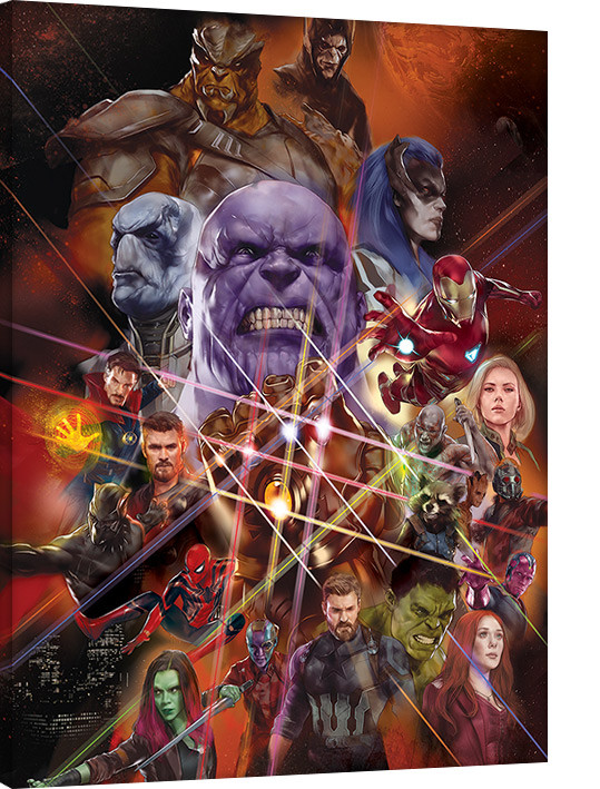 Avengers Infinity War - Gauntlet Character Collage Tablou Canvas