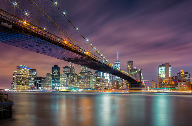 Brooklyn Bridge at Night Tablou Canvas