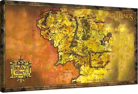 Stapânul Inelelor - Harta a Pamântul de Mijloc Tablou Canvas