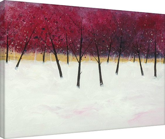 Stuart Roy - Red Trees on White Tablou Canvas