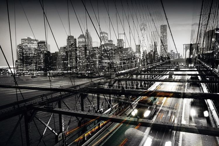 Tablouri pe sticla Black and White Bridge