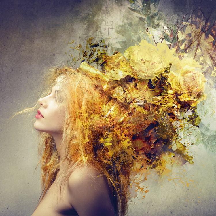 Tablouri pe sticla Woman - Nature