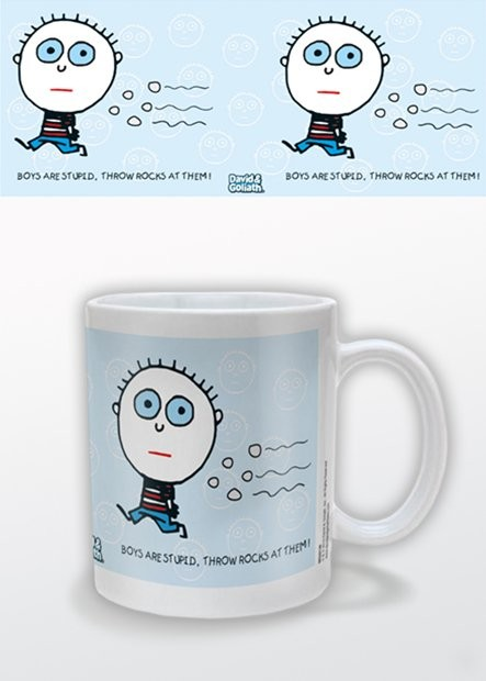Tasse Humor - Boys R Stupid, David & Goliath