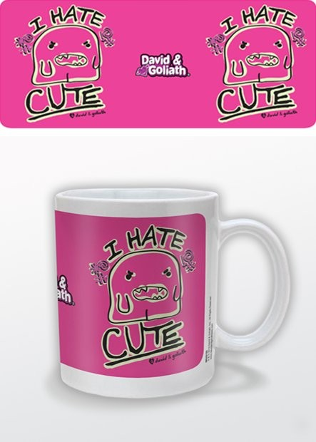 Tasse Humor - I Hate Cute, David & Goliath