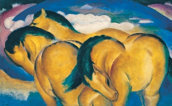 The Little Yellow Horses - Franz Marc Festmény reprodukció