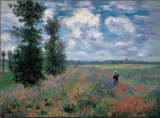 The Poppy Field in Summer near Argenteuil Festmény reprodukció