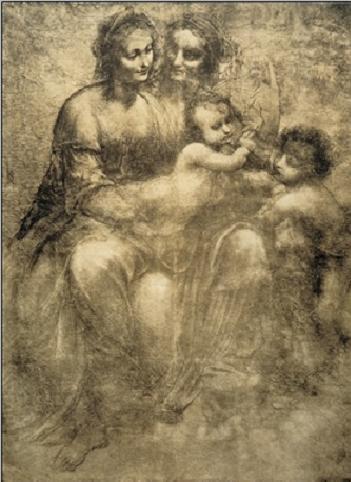 The Virgin and Child with St Anne and St John the Baptist - Burlington House Cartoon Festmény reprodukció
