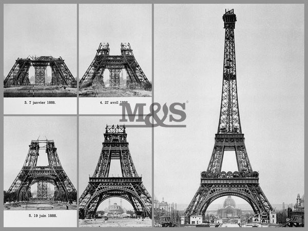 Construction on Eiffel Tower 1889 Tisk