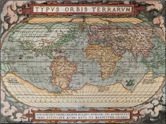 Történelmi világtérkép Festmény reprodukció