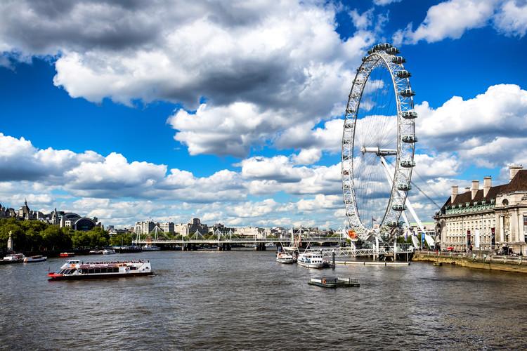 Landscape of River Thames with London Eye Tableau sur Toile