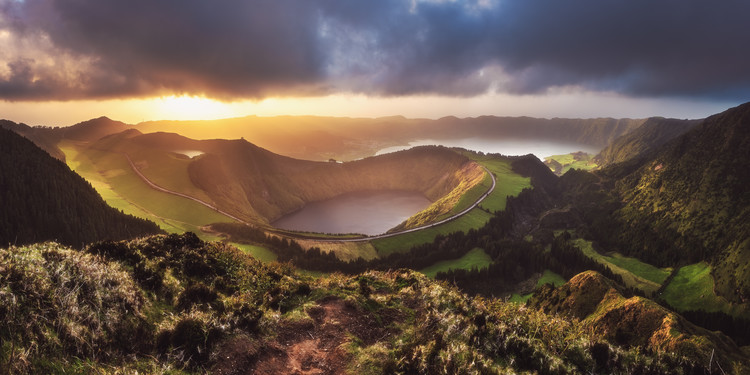 Azores - Sete Cidades Sunset Panorama Tableau sur Toile