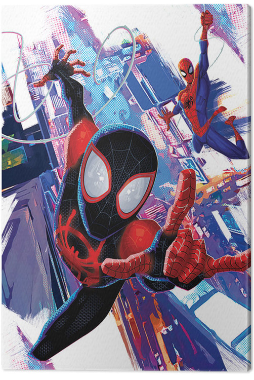 spiderman new generation  duo tableau sur toile