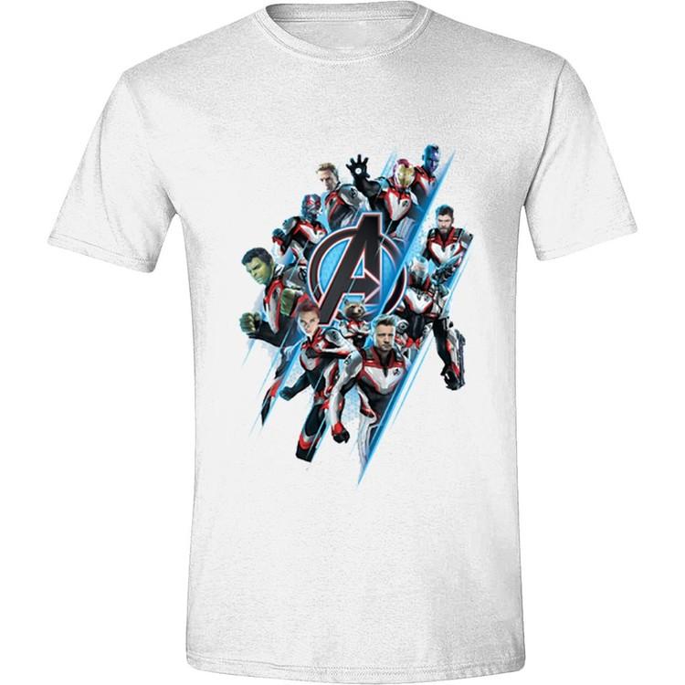Tričko Avengers: Endgame - Diagonal Logo & Characters