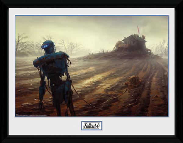 Fallout 4 - Farming Robot üveg keretes plakát