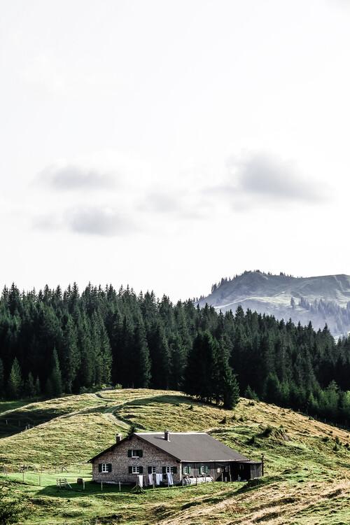 Umjetnička fotografija A hut in the alps