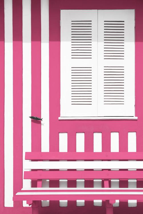 Umjetnička fotografija House facade with Pink and White Stripes