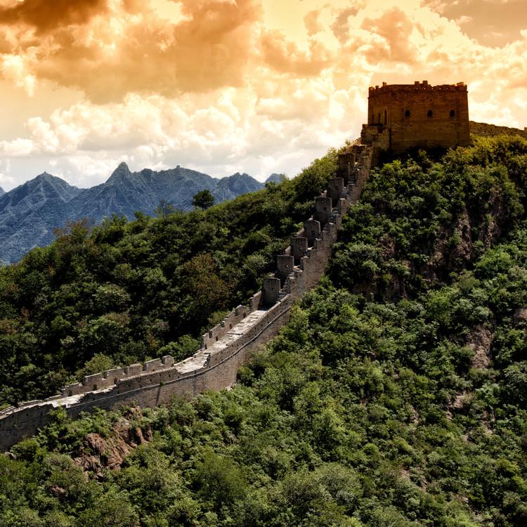 Umjetnička fotografija China 10MKm2 Collection - Great Wall of China at Sunset