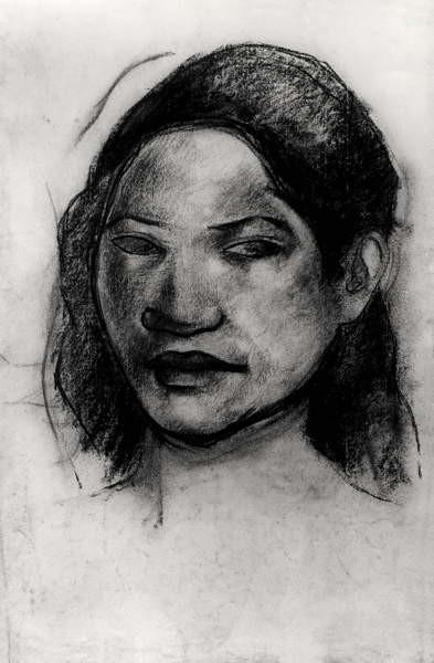 Head of a Tahitian (charcoal on paper) Reprodukcija umjetnosti
