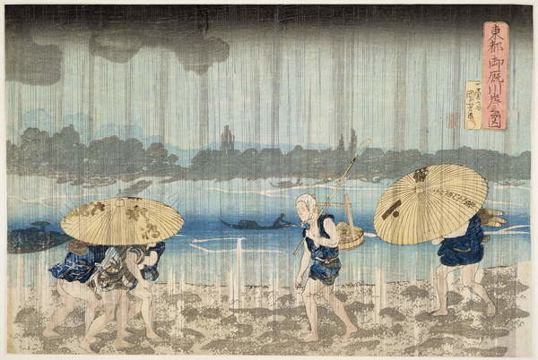 Shower on the Banks of the Sumida River at Ommaya Embankment in Edo, c.1834 Reprodukcija umjetnosti