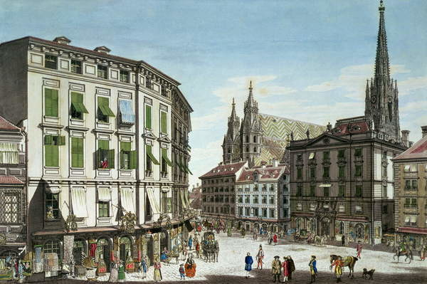 Stock-im-Eisen-Platz, with St. Stephan's Cathedral in the background, engraved by the artist, 1779 Reprodukcija umjetnosti