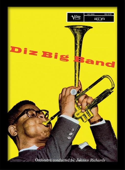 Dizzie Gillespie - big band uokvirjen plakat-pleksi