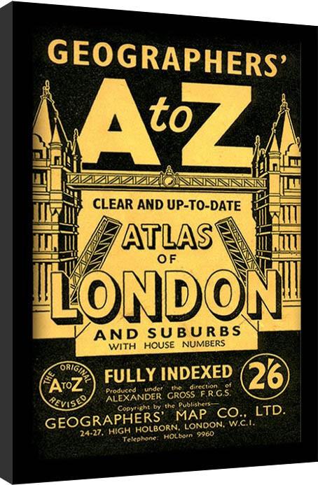 Londýn - A-Z Vintage Uokvirjeni plakat