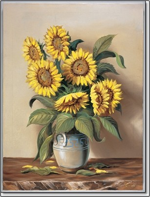 Vase of Sunflowers Festmény reprodukció