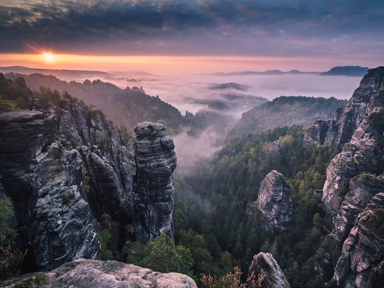 Vászonkép Sunrise on the Rocks