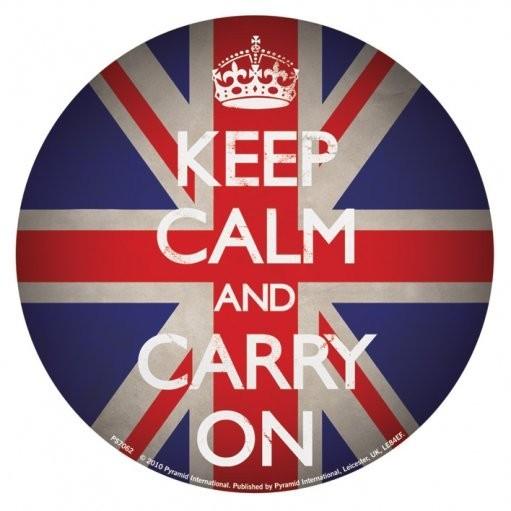 KEEP CALM AND CARRY ON - union jack Vinylklistermärken