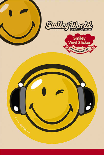 SMILEY – headphones Vinylklistermärken