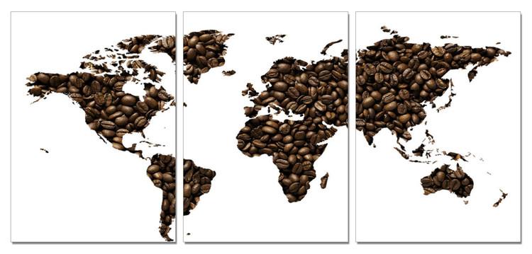 Wandbilder Karte von Welt, Weltkarte - Kaffee
