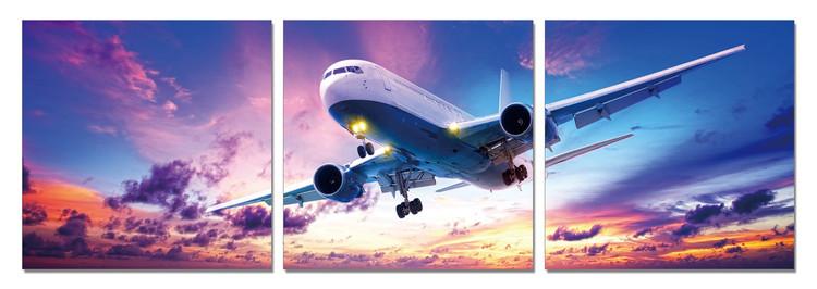 Wandbilder Landing Plane at Sunset