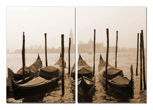 Wandbilder Venice - Gondolas, sepia