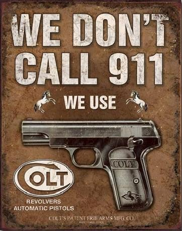 Metalen wandbord COLT - We Don't Call 918