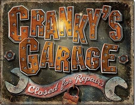 Metalen wandbord Cranky's Garage