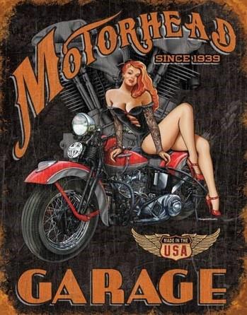 Metalen wandbord LEGENDS - motorhead garage