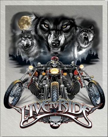 Metalen wandbord LIVE TO RIDE - wolves