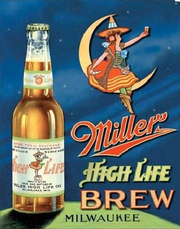 Metalen wandbord MILLER HIGH LIFE BREW