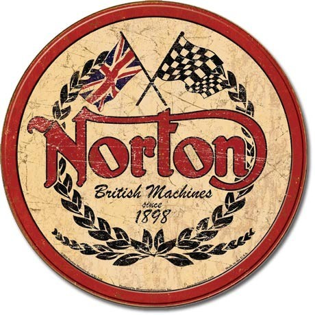 Metalen wandbord NORTON - logo round