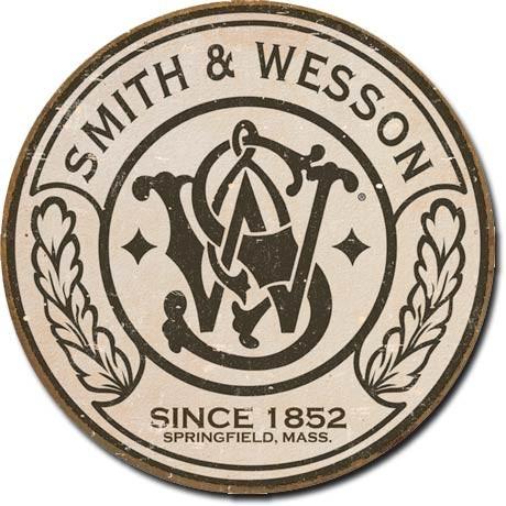Metalen wandbord S&W - round