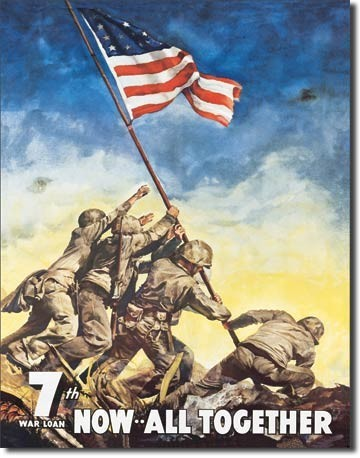 Metalen wandbord WAR BONDS - iwojima