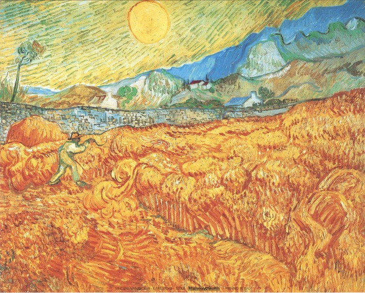 Wheat Field with Reaper, 1889 Festmény reprodukció
