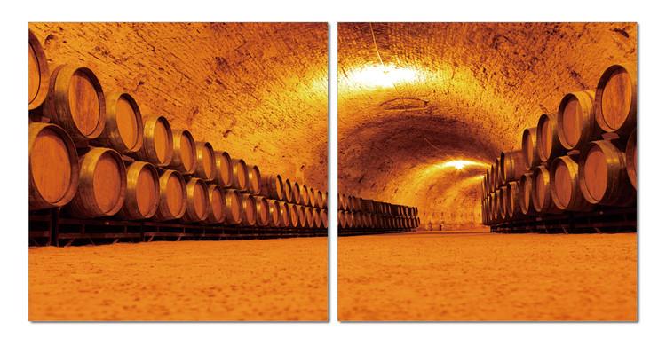 Whiskey barrels in the cellar Schilderij