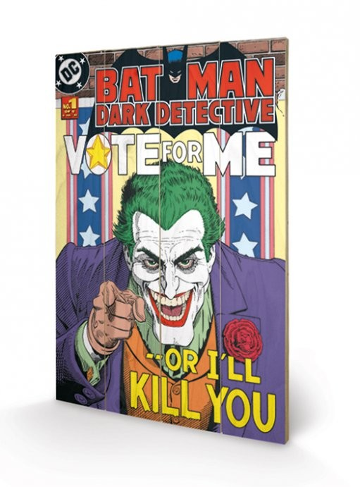 Obraz na dřevě - DC COMICS - joker / vote for m