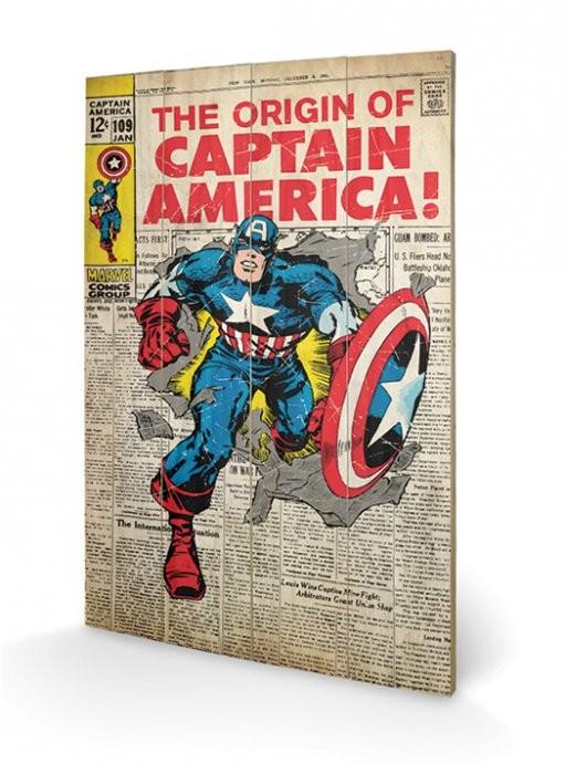 Obraz na dřevě - Captain America - Origin