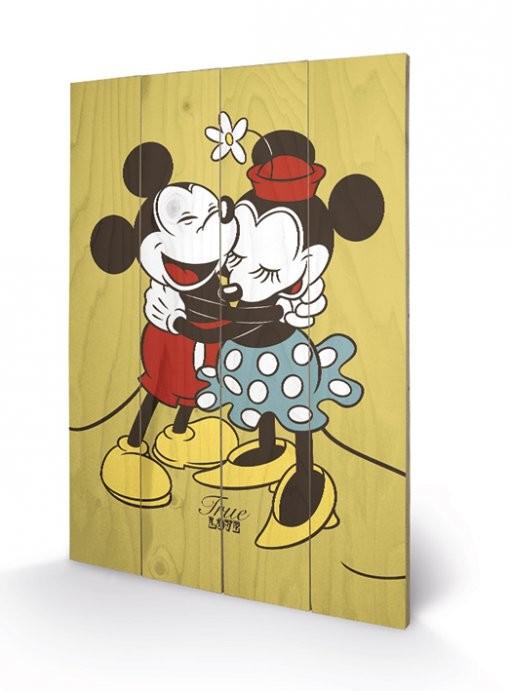 Obraz na dřevě Myšák Mickey a Minnie - Pravá láska