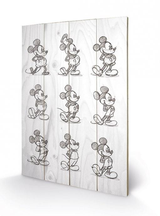 Obraz na dřevě Myšák Mickey (Mickey Mouse) - Sketched - Multi