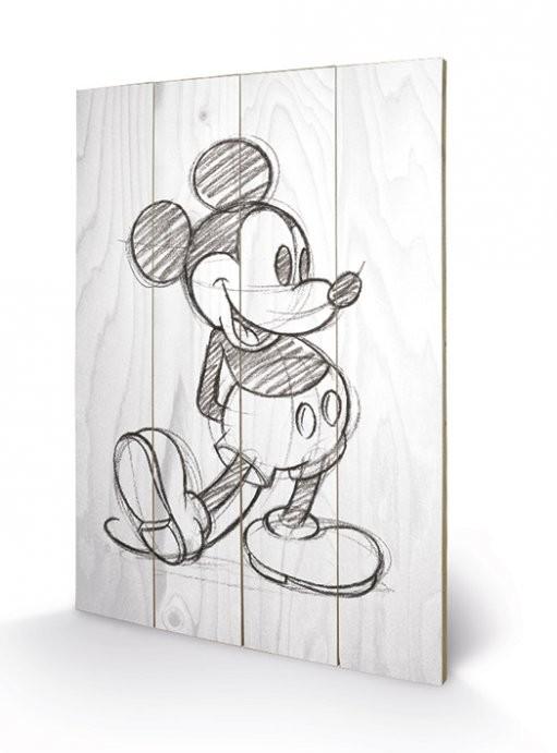 Obraz na dřevě Myšák Mickey (Mickey Mouse) - Sketched - Single